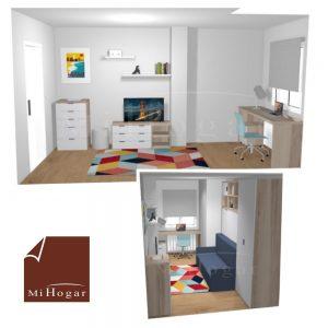 dormitorio a medida con cama abatible horizontal con sofa y estudio