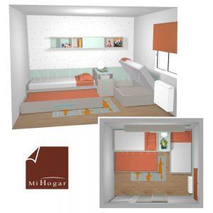 dormitorio juvenil a medida camas en escuadra abierta