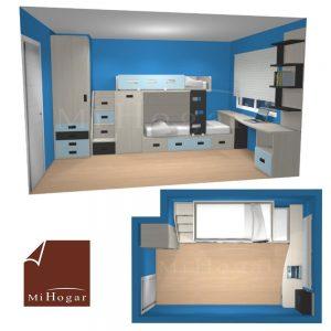 dormitorio juvenil a medida con cama litera tren armarios y escalera cajones