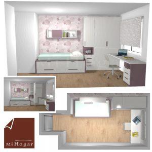 dormitorio juvenil a medida habitación estrecha cama compacta y armarios