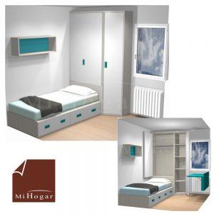 dormitorio juvenil a medida pequeño con armario cabecero plegable arcón y terminal chaflan y mesa estudio abatible