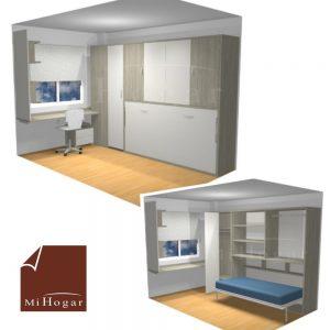 dormitorio juvenil a medida pequeño con cama abatible horizontal con armario
