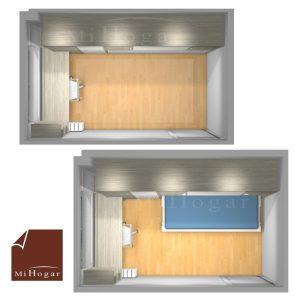dormitorio juvenil a medida pequeño con cama abatible horizontal con armario planta