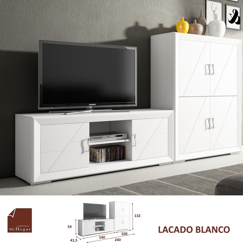 Muebles Lacados Blanco Para Salon.Mueble Salon Lacado Blanco Oferta Exposicion