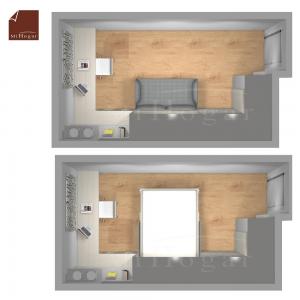 planta dormitorio a medida con cama abatible con sofa