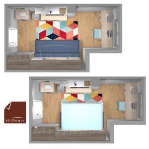 planta dormitorio a medida con cama abatible horizontal con sofa