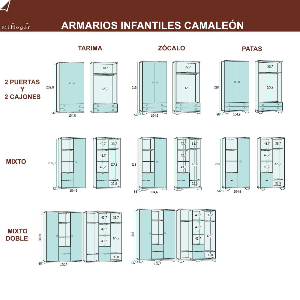 armarios medidas dormitorios infantiles camaleon
