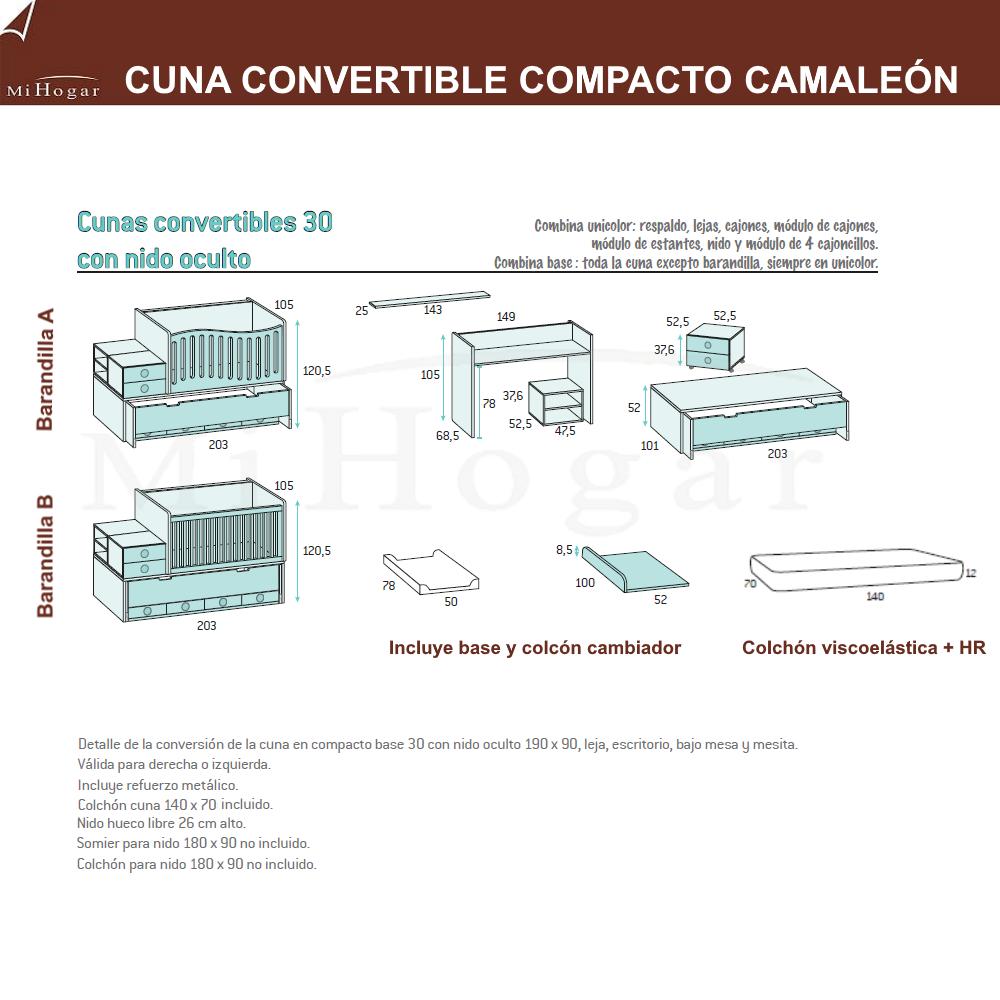 cuna convertible compacto camaleon