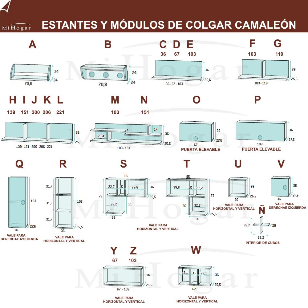 estanterías a pared y modulos medidas dormitorios infantiles camaleon