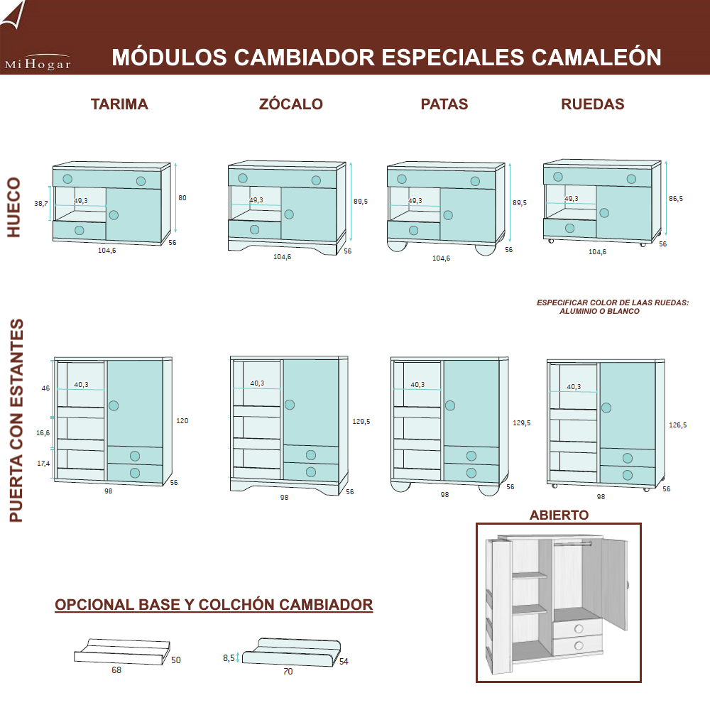 modulos cambiador bebe especiales medidas dormitorios infantiles camaleon